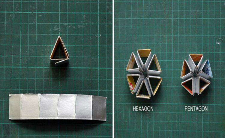 Embalagem de papelão em um lustre diferente