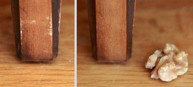 Tirar riscos de madeira com nozes