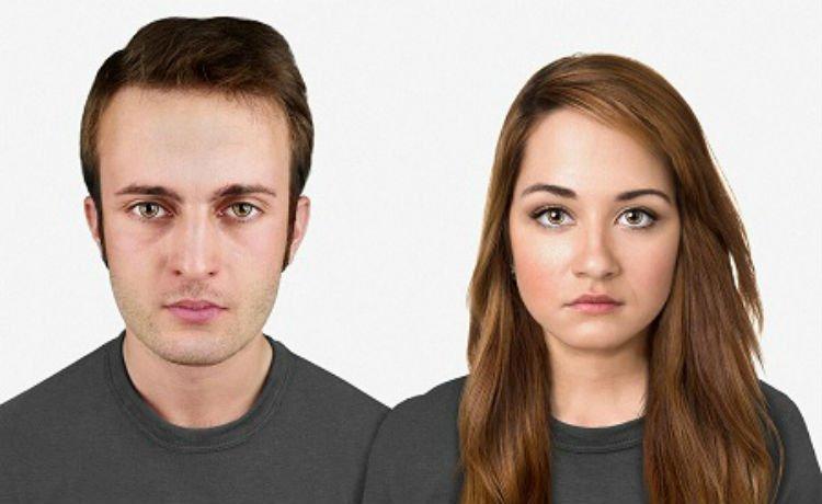 Face de um homem e uma mulher daqui a 20 mil anos