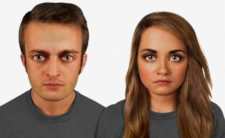 Face de um homem e uma mulher daqui a 60 mil anos