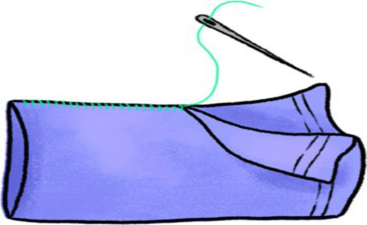 costurando almofada para aromaterapia