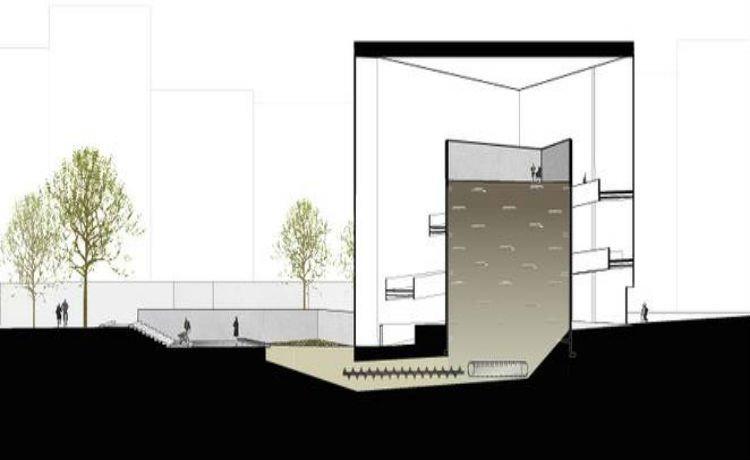 Edifício com um núcleo de três andares para acomodar os corpos para o início da compostagem