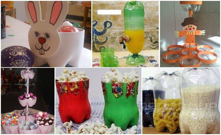 Utensílios de cozinha feitos com garrafas PET