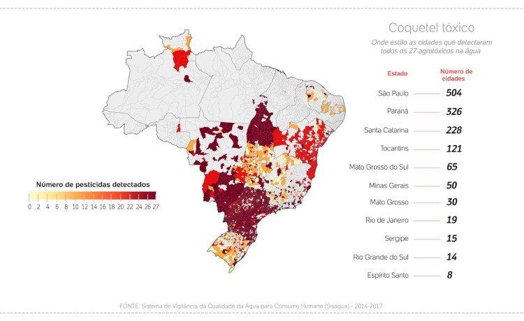 cidades com água contaminada