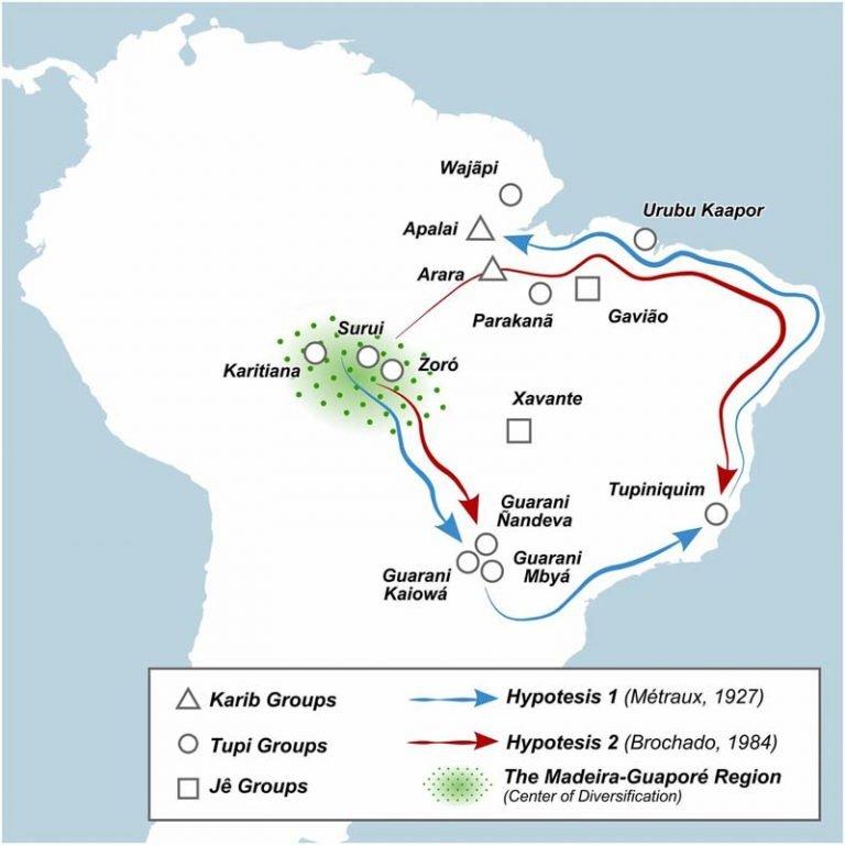 Mapa representando as duas hipóteses de dispersão. O estudo indica que a mais provável seja a segunda (traçado vermelho)