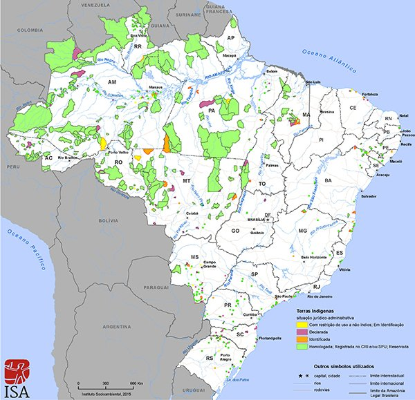 Mapa das terras indígenas do Brasil