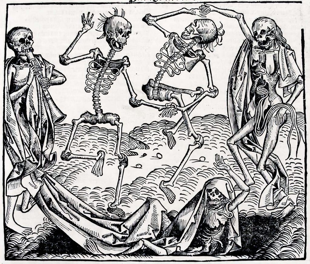 "Memento mori na arte: ""A Dança da Morte"" gravura de Micheal Wolgemut"