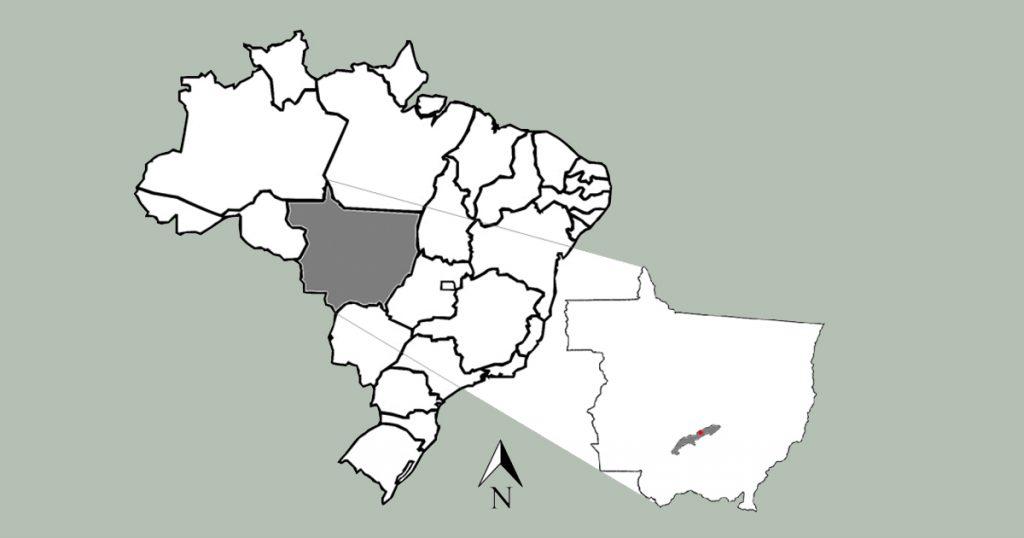 Mapa destacando o Estado do Mato grosso e o município de Rosário